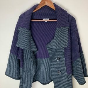 Carducci Purple and Grey Heavy wool blend Sweater
